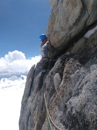 Our first difficult climbing pitches in Chamonix!