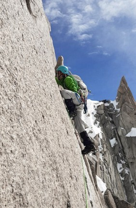 The first crux of the Cosmiques Arete