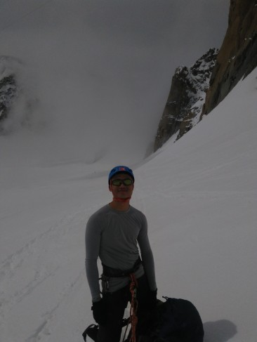 Happy face breathing in the crisp air of Chamonix