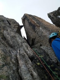 Another classic, this time on the tight chimney which was difficult to squeeze through because of our packs!
