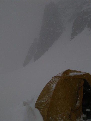We set up camp beneath the south face of Aiguille du Midi, and soon weather turned a little nasty.